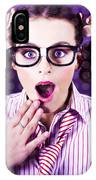 Attractive Young Nerd Girl With Surprised Look IPhone Case