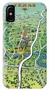 Austin Texas Cartoon Map IPhone Case