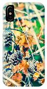 Autumn Leaves And Pinecone Background IPhone Case