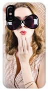 Beautiful Surprised Girl Wearing Big Sunglasses IPhone Case
