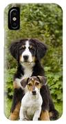 Bernese Mountain & Jack Russell Puppies IPhone Case