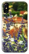 Blue Flowers And Rooftops In Sarlat IPhone Case