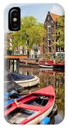 Boats On Canal In Amsterdam IPhone Case