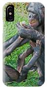 Bonobo Adult Playing With Baby IPhone Case