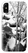 Cut Stone Blocks Backyard Snow Aberdeen South Dakota 1965 Black And White IPhone Case