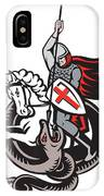 English Knight Fighting Dragon England Flag Shield Retro IPhone Case