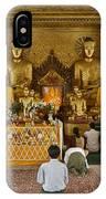 faithful Buddhists praying at Buddha Statues in SHWEDAGON PAGODA IPhone Case