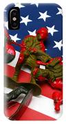 Fallen Toy Soliders On American Flag IPhone Case