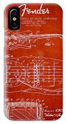 Fender Floating Tremolo Patent Drawing From 1961 - Red IPhone Case