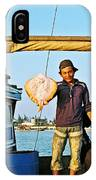Fisherman With A Skate On Thu Bon River In Hoi An-vietnam  IPhone Case
