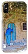 Knocking On A Blue Door Of Tufa Home In Goreme In Cappadocia-turkey  IPhone Case