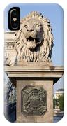 Lion Sculpture On Chain Bridge In Budapest IPhone Case
