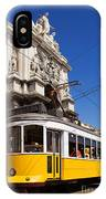 Lisbon's Typical Yellow Tram In Commerce Square IPhone Case