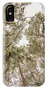 Looking Up At Snow Covered Tree Tops IPhone Case
