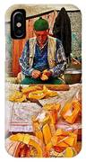 Man Peeling Squash In Antalya Street Market-turkey IPhone Case