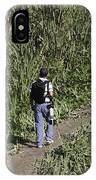 Man With A Canon Camera And Lens In Greenery IPhone Case