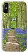 Path Through Bluebells Resembling Water Colour IPhone Case