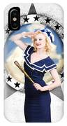 Pin-up Sailor Girl On Boat. Holiday Abroad IPhone Case