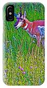 Pronghorn Among Wildflowers In Custer State Park-south Dakota IPhone Case