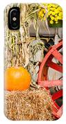Pumpkins Next To An Old Farm Tractor IPhone Case