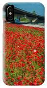 Red Poppy Field Near Highway Road IPhone Case