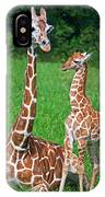Reticulated Giraffe Calf With Mother IPhone Case