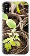 Seedlings Growing In Peat Moss Pots IPhone Case