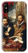 Selfportrait With Brother Philipp Justus Lipsius And Another Scholar IPhone Case