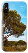 Single Pine Tree Against Blue Autumn Sky IPhone Case