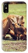 Small Lion Cubs With Mother. Tanzania IPhone Case