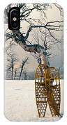 Snowshoes Leaning Against Birch Tree Snowscape IPhone Case