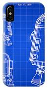 Star Wars R2-d2 Patent 1979 - Blue IPhone Case