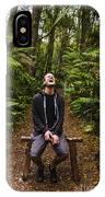 Travel Man Laughing In Tasmania Rainforest IPhone Case