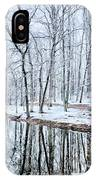Tree Line Reflections In Lake During Winter Snow Storm IPhone Case