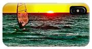 Windsurfer At Sunset On Lake Michigan From Empire-michigan  IPhone Case