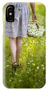 Woman Walking Through A Wild Flower Meadow With A Basket Of Flow IPhone Case
