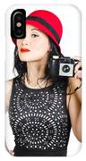 Woman With An Old Camera IPhone Case