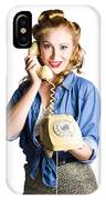 Woman With Retro Telephone IPhone Case