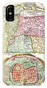 1632 Tirinus Map Of The Holy Land Israel W Numerous Insetsgeographicus Holyland Tirinus 1632 IPhone Case