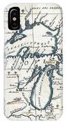 1696 Coronelli Map Of The Great Lakes Most Accurate Map Of The Great Lakes In The 17th Century Geogr IPhone Case