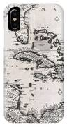 1696 Danckerts Map Of Florida The West Indies And The Caribbean IPhone Case