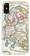 1706 De La Feuille Map Of Europe IPhone Case