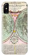 1707 Homann And Doppelmayr Map Of The Moon Geographicus Tabulaselenographicamoon Doppelmayr 1707 IPhone Case