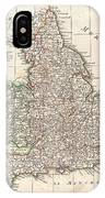 1772 Bonne Map Of England And Wales  IPhone Case