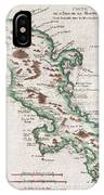 1780 Raynal And Bonne Map Of Martinique West Indies IPhone Case
