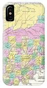 1827 Finley Map Of Indiana IPhone Case