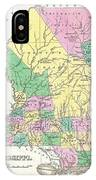 1827 Finley Map Of Mississippi IPhone Case
