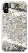 1852 Levasseur Map Of The Department L Allier France  Saint Pourcain Wine Region IPhone Case