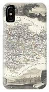 1852 Levasseur Map Of The Department L Aude France IPhone Case