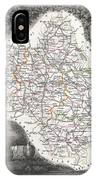 1852 Levasseur Map Of The Department L Aveyron France Roquefort Cheese Region IPhone Case